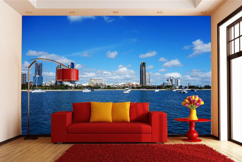 3D bluee Sea City Wall Paper Wall Print Decal Wall Deco Indoor wall Murals