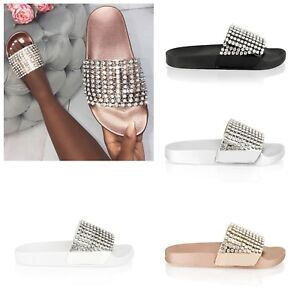 Womens-Ladies-Slip-On-Sparkly-Diamante-Bling-Sliders-Holiday-Summer-Sandals-Size