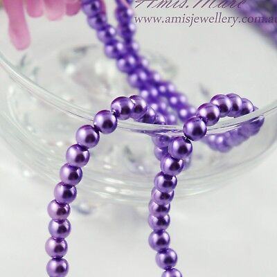 110PCS 8mm Glass Pearl Lavender//purple Color Round DIY Imitation Pearl beads