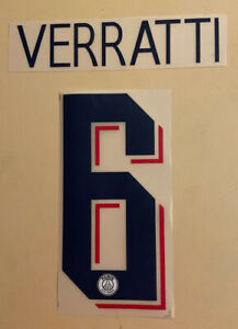 FLOCAGE Marco VERRATTI #6 Paris Home 2019-2020 Third Nameset. Champions League