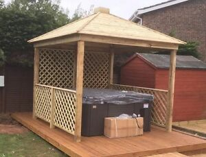 Gazebo wooden hot tub cover jacuzzi shelter spa cover we for Hot tub shelters