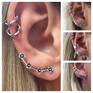 Image Is Loading Multiple Pierced Women 039 S Earring Sets Cuff