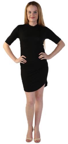 Womens célébrité Inspired Ladies Curve Hem Polo Neck Bodycon Tunic Mini Dress