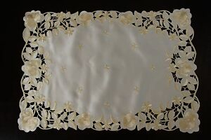 Solid-White-Ivory-Fabric-Embroidered-Table-Placemats-Runner-Wedding-Bridal-Party