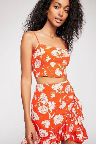 L Large $128 L New Free People I've Got A Feeling Floral Set Orange 2-Piece Sz
