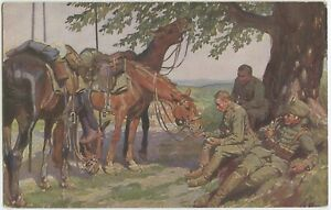 True-Friends-Cavalry-Soldiers-Horses-Patriotic-German-WW1-Postcard-2027