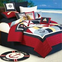Sail Away 3pc Twin Single Quilt Set : Beach Boat Nautical Lighthouse Comforter