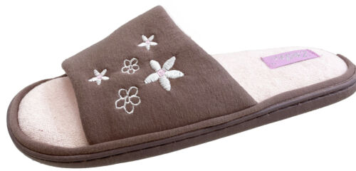 Zedzzz Ladies Grey Blue Or Pink Open Toe Thick Padded Insole Mules Slippers