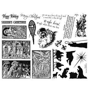 8 12 X 11 Rubber Stamp Sheet Christmas Nativity Santa Quotes 13