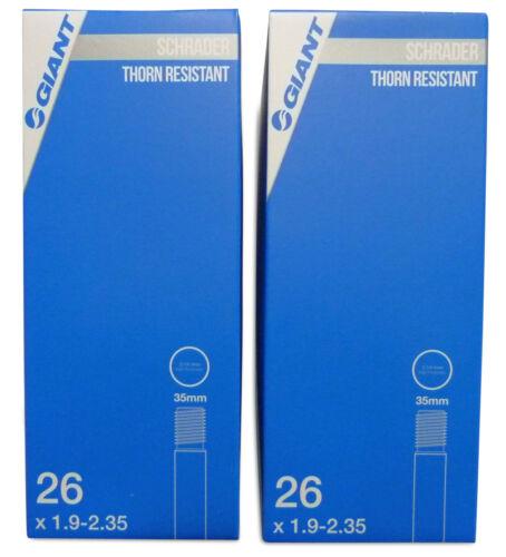 """2 x Giant Thorn Resistant 26/"""" x 1.9-2.35 Tube Schrader Valve Bike Tube"""