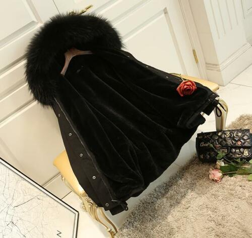 Short Kvinders Trench Jacket Overcoat Outerwear Coat Warm 2 Collar Fur Big Color qZwFRt6