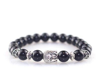 Black Obsidian Bracelet Reiki Healing Gemstone Lava STRESS GROUNDING PROTECTION
