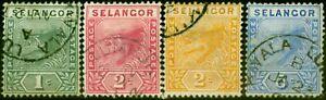 Selangor 1891 Set of 4 SG49-52 Good Used