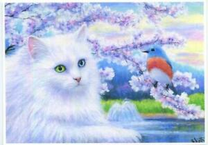 ACEO-WHITE-LONG-HAIRED-CAT-NAMED-LILY-ROBIN-BIRD-SPRING-BLOSSOMS-LAKE-ART-PRINT