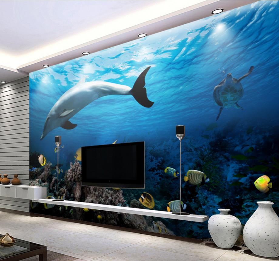 3D Dolphin Sea Fishs 7 Wall Paper Murals Wall Print Wall Wallpaper Mural AU Kyra