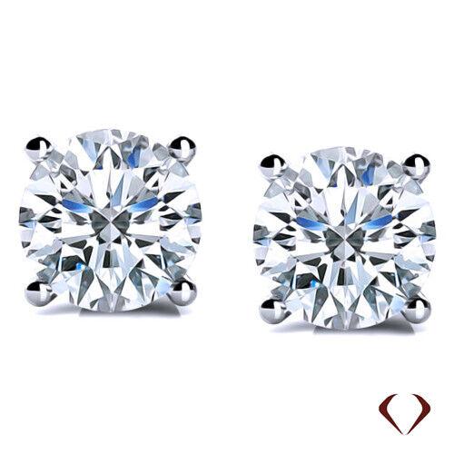 0.39 CT H SI2 Round Diamond Stud Earrings 14K White gold Martini 4 prong
