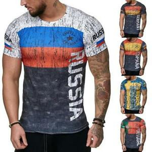 watch 3d473 9d951 Image is loading Men-T-shirt-Letter-Russia-Sweden-Portugal-Germany-