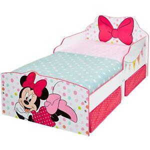 Dettagli su Minnie mouse Lettino con Contenitore Pois Fiocco Junior Camera  da Letto Bambina