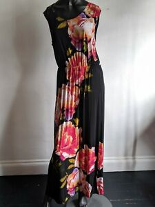 Size-16-Black-Maxi-Dress-Floral-Festival-Boho-Blooms-Holiday-Stretchy-Full