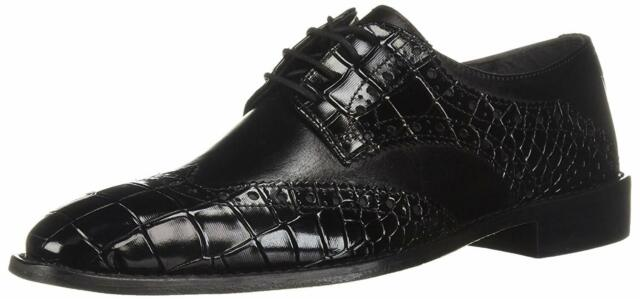 Stacy Adams Mens Tomaselli Leather Lace Up Dress Oxfords, Black, Size 14.0