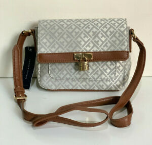 TOMMY-HILFIGER-GRAY-SILVER-WHITE-FLAP-MESSENGER-CROSSBODY-SLING-BAG-69-SALE