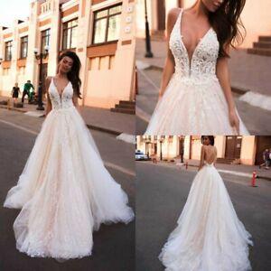 A-Line-Beach-Pink-Wedding-Dresses-Bridal-Gowns-V-Neck-2-4-6-8-10-12-14-16-18-20