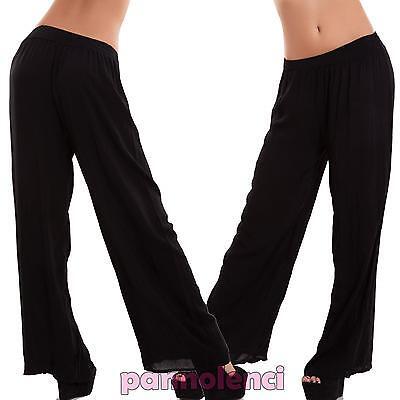 Pantaloni donna palazzo leggeri ampi cavallo basso elastico casual nuovi CJ-2215