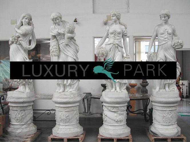 Cuatro estaciones antiguedad mujeres esculturas de mármol blancoo música clásica