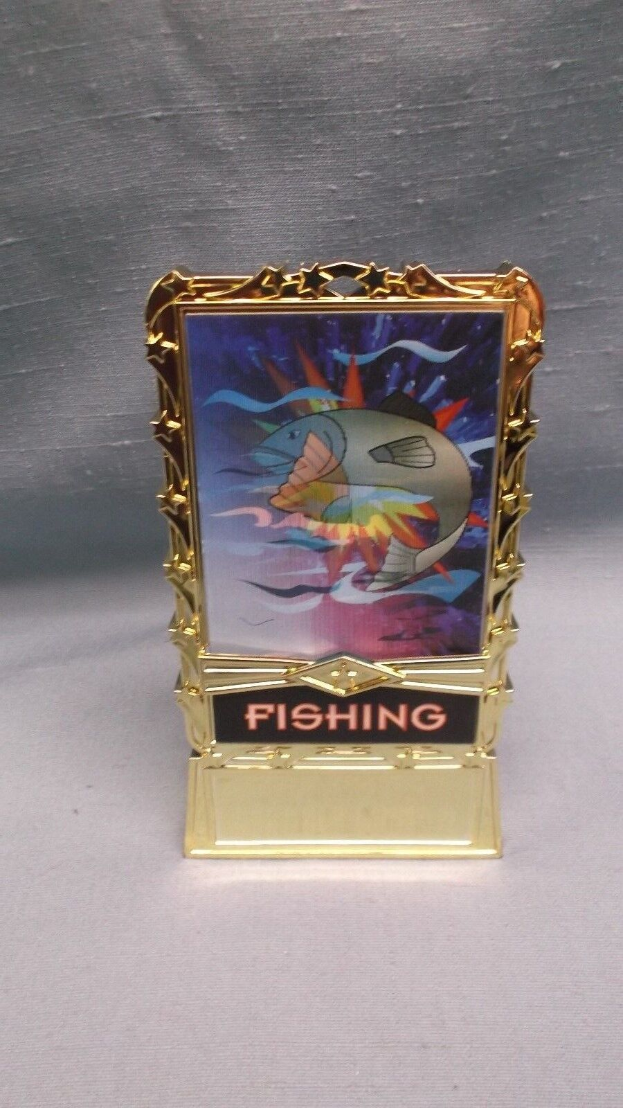 Lot of 25 FISH full Coloreeeee hologram insert trophies weighted base