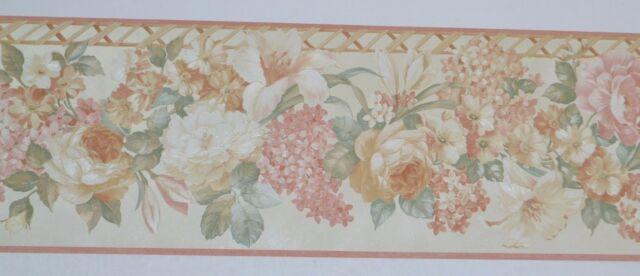 Mixed Hanging Flowers Lattice Floral Coral Pink Wallpaper Border Sunworthy N