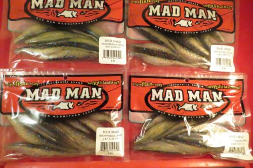 "Lot of 4 Packs Mad Man Mooneyham Lure Shad 5751-170 Smokin Blue Shad  5/"" 9// Pck"
