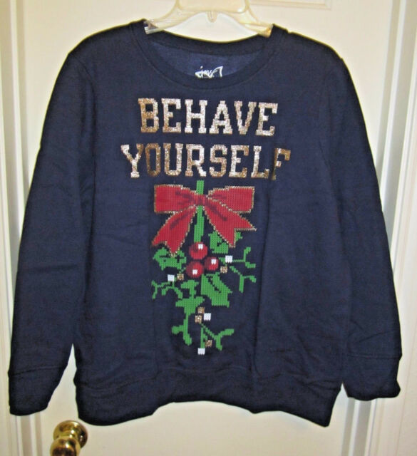 13e75bfb428 Just My Size Womens Plus Ugly Christmas Sweatshirt Hanes Navy Behave ...
