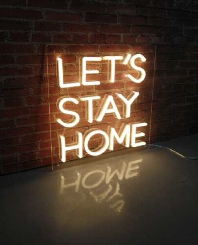 Details about  /LETS STAY HOME UK Dispatch LED Neon Sign