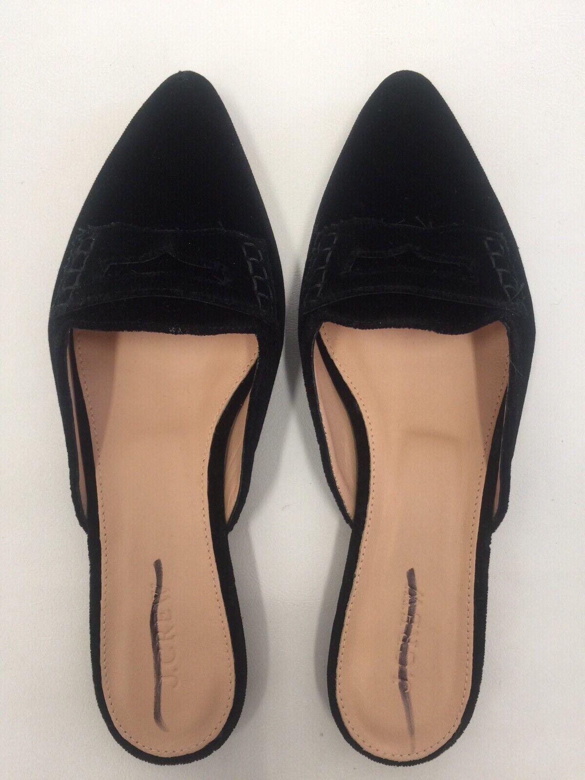 NEW  JCREW $148 Velvet loafer mules Size 7.5 In Black H1844