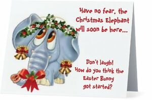 Custom Christmas Cards.Details About Ur Words Humorous Funny Holiday Bells Elephant Custom Christmas Cards