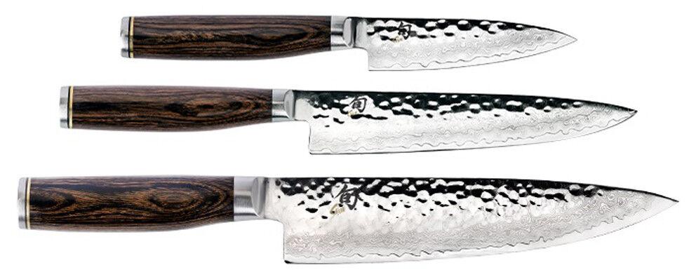 Shun Premier 4  Rant 6.5  Utility & 8  Chef's 3 PIECES Starter Kit couteau distorsiomètre 0300