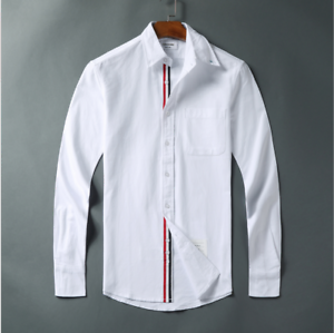 NWT Thom-Browne Oxford Grosgrain Placket Cotton Shirt Simple Long Sleeve Shirts