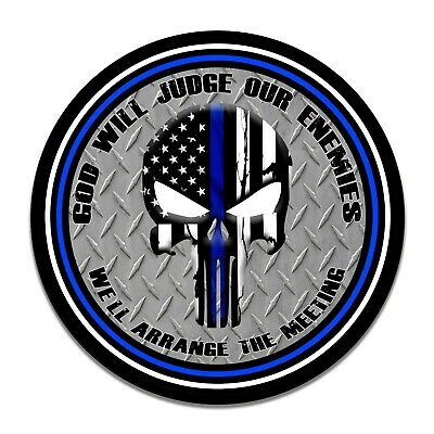 """Thin Blue Line Punisher God Will Judge Our Enemies Aluminum 11.75/"""" Sign"""