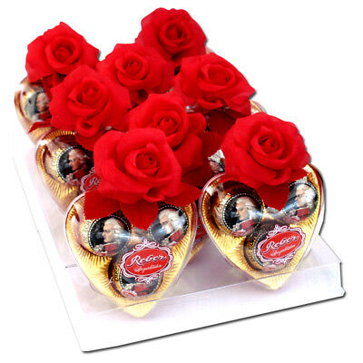 (61,23€/1kg) Reber Herz mit Seidenrose, Praline, Schokolade 8 Stück