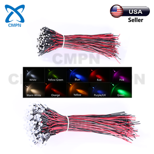 5mm Red LED Light Emitting Diodes 50 Pcs 3 5 10mm DC 9-12V Pre Wired Water Clear LED Diodes White Red Blue Green Light