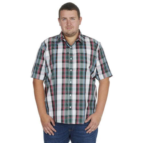 Mens Big /& Tall Check Shirt Short Sleeve Smart Casual Work Top King Size 3XL-6XL
