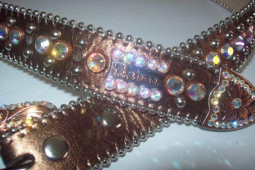 BB Simon Swarovski A B Crystal  Leather Belt 32 wo