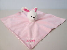 CARTER/'S SECURITY BLANKET PINK BUNNY RABBIT MOMMY LOVES ME WHITE FUR COLLAR NEW