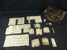 Vintage 1920s Bone & Bamboo Mah Jong Set w/ Case 152 Tiles / 202 Counting Sticks