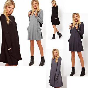 Tunika-Longshirt-Damen-mit-Taschen-Kleid-Minikleid-JAPAN-Style-S-M-L-XL-XXL-182