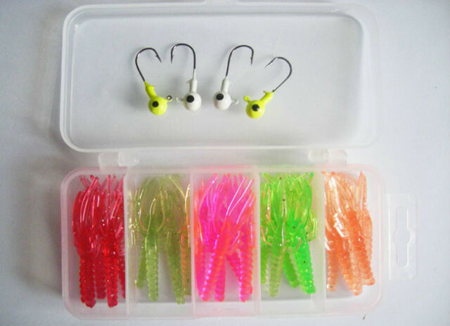 4PCS Jig Head Fishing Hooks 25PCS soft crawfish lure set + box
