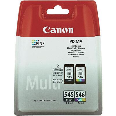 GENUINE OEM CANON PIXMA PG-545 BLACK & CL-546 TRI COLOUR INK CARTRIDGE MULTIPACK