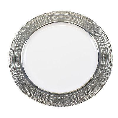 "30 x 10""/26cm White Silver Rim Strong  Disposable Plastic Dinner Plates"