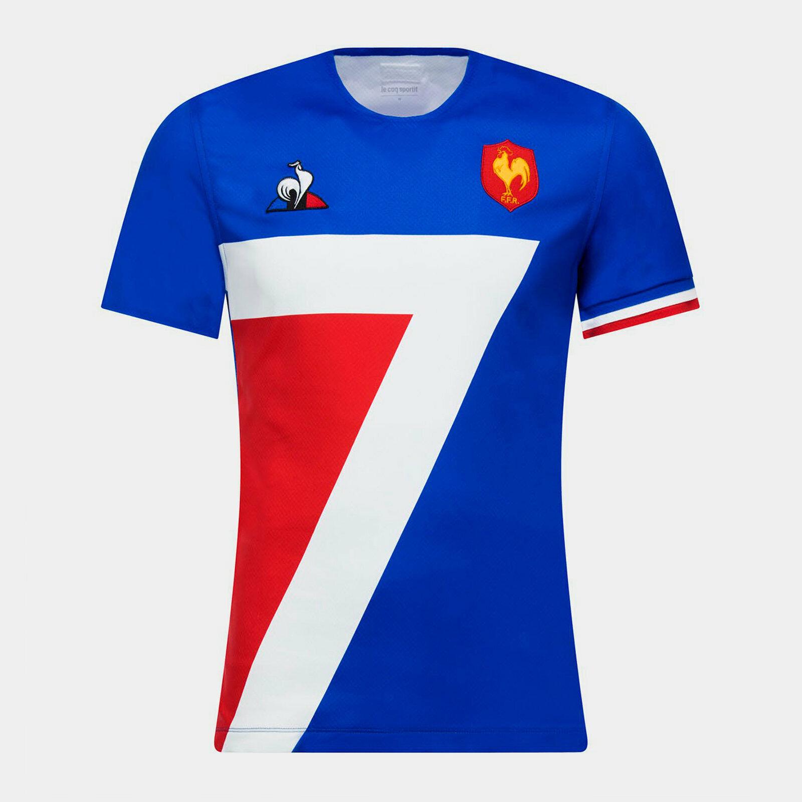 Le Coq Sportif Da Uomo Francia 7s 2018 19 HOME Manica Corta Rugby Camicia Blu