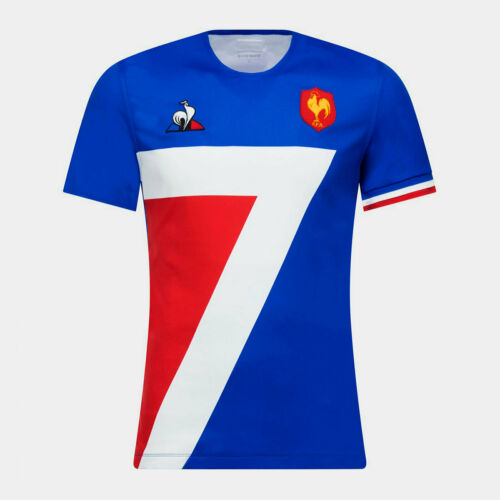 Le Coq Sportif Mens France 2018//19 Home Short Sleeve Rugby Shirt Tee Top Blue